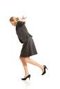 Woman walking carefully Royalty Free Stock Photo