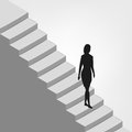 Woman walking down on diagonal staircase vector illustration Stock Photography