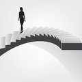 Woman walking down on spiral staircase vector illustration Royalty Free Stock Image