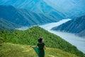 Woman walking on the mountains Royalty Free Stock Photo