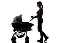 Woman walking prams baby silhouette one caucasian on white background Stock Images
