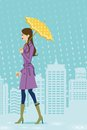 Woman walking in rainy city side view vector illustration of who Stock Photo
