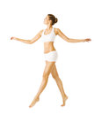 Woman Walking Side View, Girl Cotton Underwear, People on White Royalty Free Stock Photo