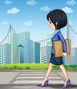 A woman walking at the street near the pedestrian lane illustration of Stock Image