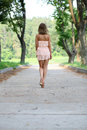 woman walking on the summer park Royalty Free Stock Photo