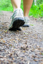 Woman walking on trail in forest, sport shoes Stock Image