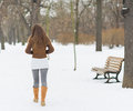 Woman walking in winter park rear view with long hair Royalty Free Stock Photo