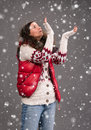 Woman in warm clothing beautiful and snow Royalty Free Stock Photos