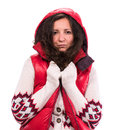 Woman in warm clothing on a white background Stock Images