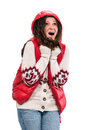 Woman in warm clothing young Royalty Free Stock Photo
