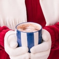 Woman in warm gloves holding cup of hot chocolate with marshmall close up midriff photo a marshmallows at winter selective focus Stock Photography