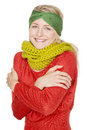 Woman with warm wool scarf Royalty Free Stock Photography