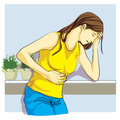 Woman was sick stomach pain Royalty Free Stock Photo