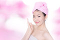 Woman washing face with foam on hands Stock Photos