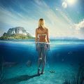 Woman in the water attractive standing Royalty Free Stock Images