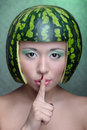 Woman with water-melon Royalty Free Stock Photo
