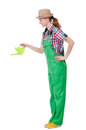 Woman with watering can on white Royalty Free Stock Photo