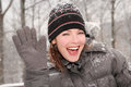 Woman waving goodbye in nature Stock Images