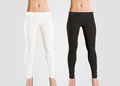 Woman wear blank leggings mockup black white on grey women in clear leggins template cloth pants design presentation sport Royalty Free Stock Photography