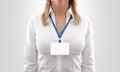 Woman wear blank white horizontal badge mockup