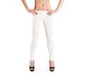Woman wear blank white leggings mockup isolated women in clear leggins template cloth pants design presentation sport pantaloons Stock Photo