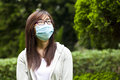 Woman wear facemask outdoor she is a typical asian Stock Photography