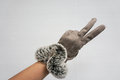 Woman wear leather gloves in winter as fighting symbol Royalty Free Stock Photo