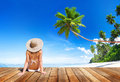 Woman Wearing Bikini in a Summer Vacation Royalty Free Stock Photo