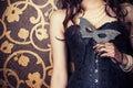 woman wearing black corset Royalty Free Stock Photo