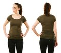 Woman wearing blank olive green shirt young beautiful with front and back ready for your design or artwork Stock Photo