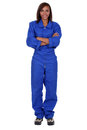 Woman wearing blue boilersuit Stock Photo