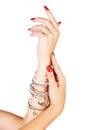 Woman wearing bracelets Royalty Free Stock Photo