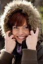 Woman wearing fur hood Royalty Free Stock Photo