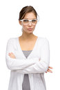 Woman wearing glasses with crossed hands half length portrait of business white frame isolated on white Royalty Free Stock Photos