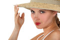 Woman wearing a hat wide brimmed Stock Photos