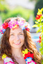 Woman wearing hawaiian flowers garland happy smiling on the beach summer vacations concept Royalty Free Stock Photography