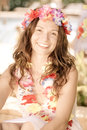 Woman wearing hawaiian flowers garland happy smiling on the beach summer vacations concept Royalty Free Stock Images