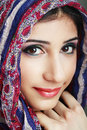 Woman wearing head scarf beautiful arabic stylish female portrait Stock Photo