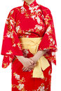 Woman wearing japanese kimono isolated on white background Royalty Free Stock Images