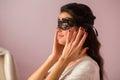 Woman wearing lace mask. Royalty Free Stock Photo