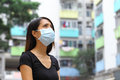 Woman wearing medical face mask in crowded city Royalty Free Stock Images