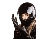 Woman wearing motorsport outfit Royalty Free Stock Photo