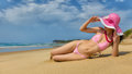 Woman wearing pink bikini. Royalty Free Stock Photo