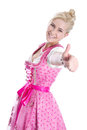 Woman wearing pink dress showing thumb up isolated Royalty Free Stock Photo