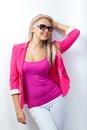 Woman wearing pink jacket Stock Image
