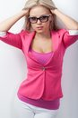 Woman wearing pink jacket Royalty Free Stock Photo
