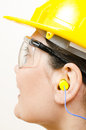 Woman wearing protective equipment Stock Photo