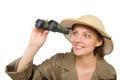 The woman wearing safari hat on white Royalty Free Stock Photo