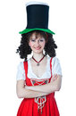 Woman wearing a Saint Patrick's Day hat Stock Images
