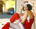 Woman wearing santa claus clothes Royalty Free Stock Photo